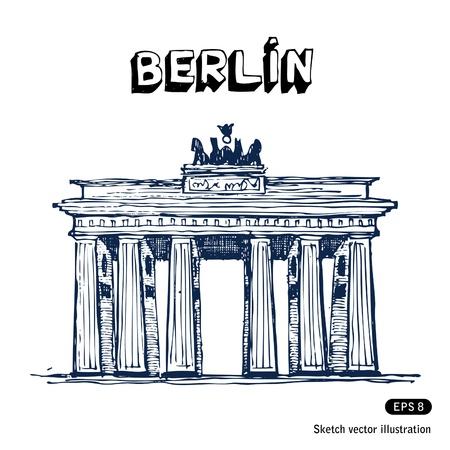lindeboom: De Brandenburger Tor in Berlijn Hand getrokken vector op wit wordt geïsoleerd