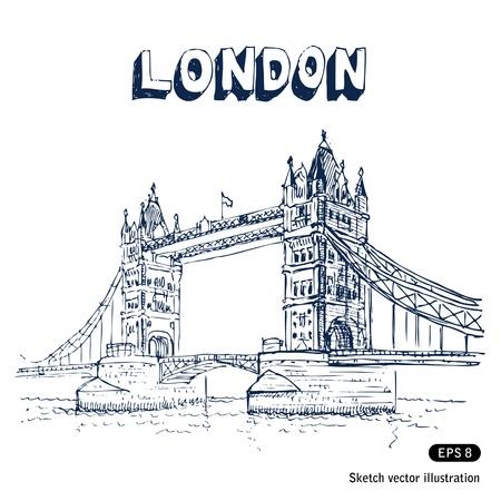 Tower Bridge, em Londres vetor tirado m