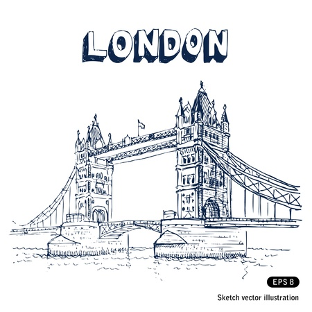 typically:   Tower Bridge in London  Hand drawn vector isolated on white