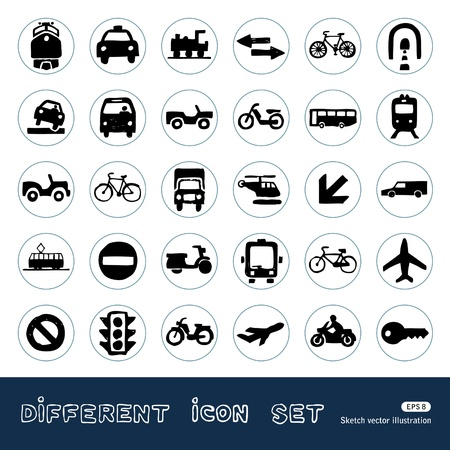 Transport, road signs and cars web icons set  Hand drawn vector isolated on white Illustration
