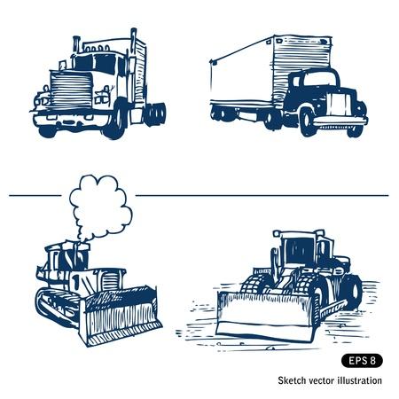 トラックやブルドーザーの手描きの背景白で隔離されます。