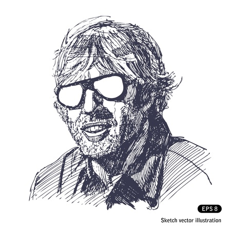 Unshaven man with sunglasses  Hand drawn vector isolated on white Vector