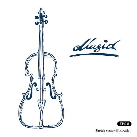 geigen: Violine Hand gezeichnet Vektor isoliert auf wei�