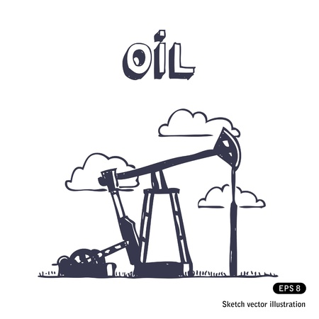 oilwell:   Working oil pump  Hand drawn vector isolated on white