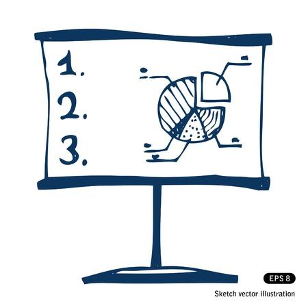 presentation screen:   Presentation screen with graphic diagram.  Illustration