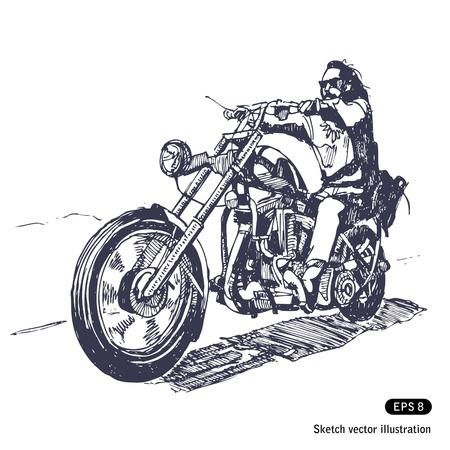 motociclista: Cavaliere su un elicottero. Vettoriali