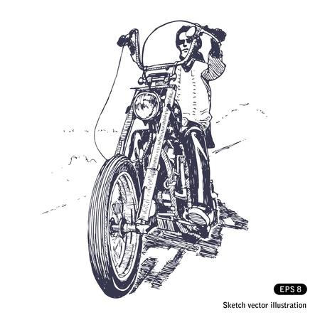 motorcycle rider:   Rider on a chopper.