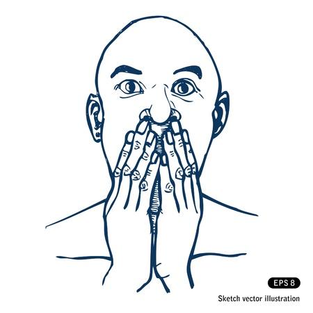 quiet adult: Spaventato o sorpreso l'uomo. Vettoriali