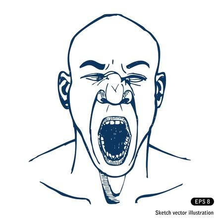 faccia disperata: Gridare o sbadigliare uomo. Aprire la bocca.
