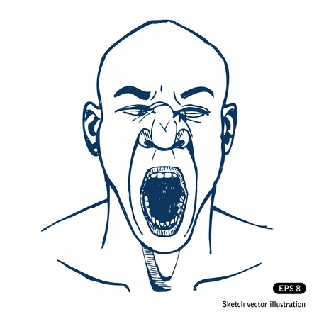 Shouting or yawning man. Open mouth. Vector