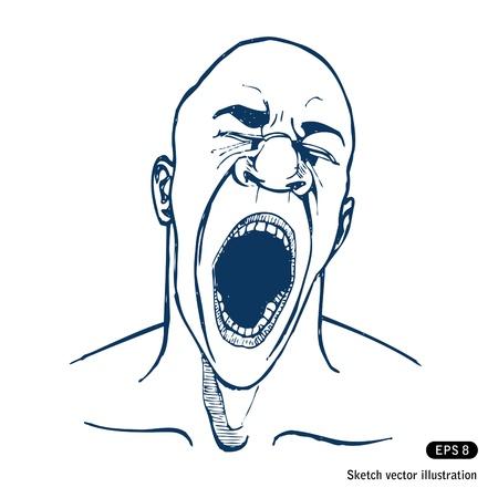 faccia disperata: Gridare o sbadigliare o uomo stanco.