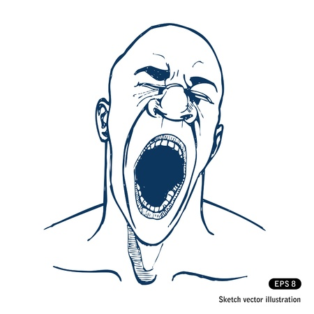 Shouting or yawning or tired man.  Vector