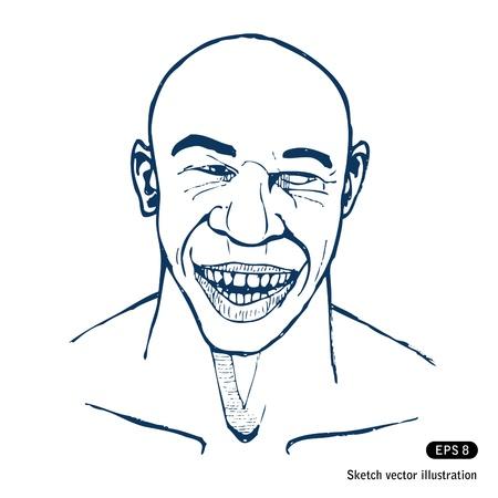 Smiling man.  Illustration