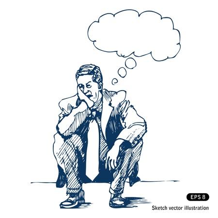 생각에 잠겨있는: 스트레스 사람이 단계에 앉아.