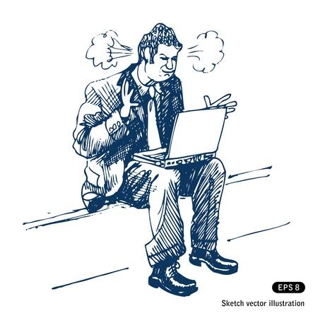 Hombre tensionado que se sienta en el paso con ordenador portátil.