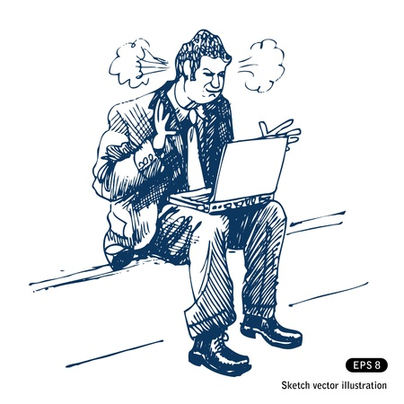 Stressed man sitting on step with laptop.  Vector