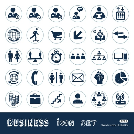 Business web icons set  Hand drawn isolated on white Vector