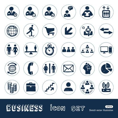 hands free phone: Iconos de negocio en la Web establecido Dibujado a mano aislado en blanco Vectores