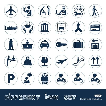 aduana: Aduanas y transporte web iconos urbanos establecer Dibujado a mano aislado en blanco