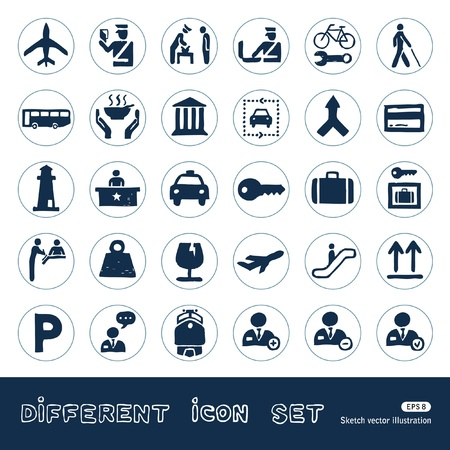 Customs and transport urban web icons set  Hand drawn isolated on white
