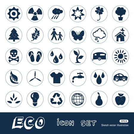 Ecology and nature web icons set  Hand drawn isolated on white