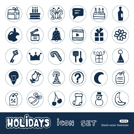 pencil box: Holidays and celebration web icons set  Hand drawn isolated on white Illustration