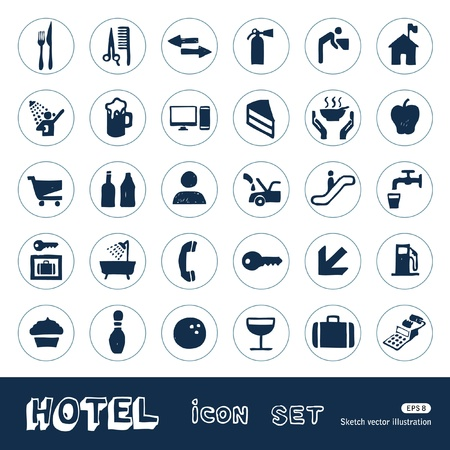 Hotel and service icons set  Hand drawn isolated on white Vector