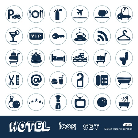 billiards room: Hotel and service web icons set  Hand drawn isolated on white