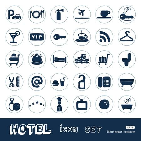Hotel e servi�o �cones do Web ajustaram M�o desenhada isolado no branco Ilustra��o