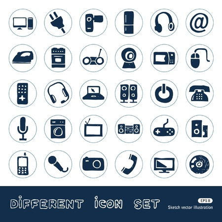 tape recorder: Household appliances and electronics web icons set  Hand drawn isolated on white