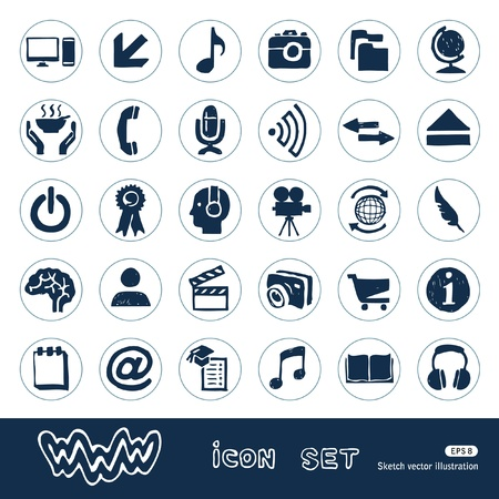 Internet and media icons set  Hand drawn isolated on white Illustration