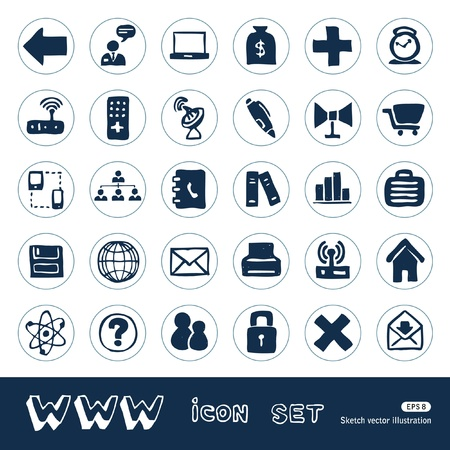 download music: Internet icons set  Hand drawn isolated on white