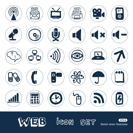 printer drawing: Internet, media and network web icons set  Hand drawn isolated on white Illustration