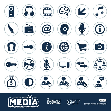 web robot: Media and business icons set  Hand drawn isolated on white
