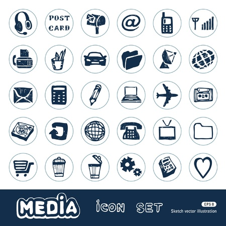 Media and communication web icons set  Hand drawn isolated on white Vector