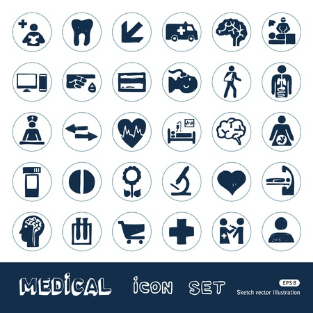 Medical web icons set  Hand drawn isolated on white Vector