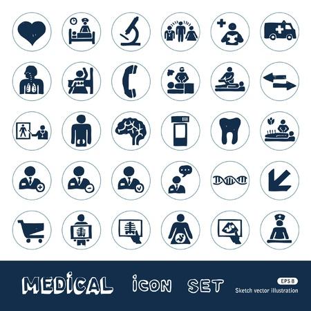 medico dibujo: Iconos m�dicos del Web fijados Dibujado a mano aislado en blanco Vectores