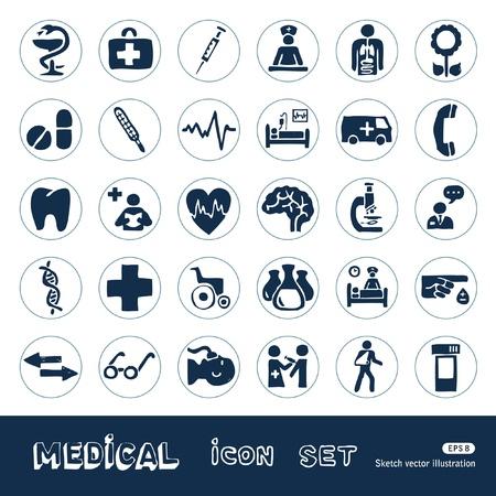 �cones do Web da medicina definir desenhado m�o isolado no branco Ilustra��o