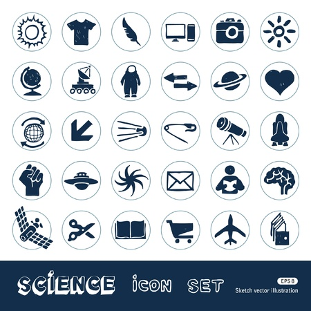 Science web icons set  Hand drawn isolated on white Vector