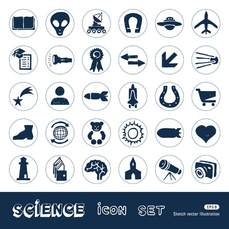 Science web icons set  Hand drawn isolated on white Stock Vector - 15070904