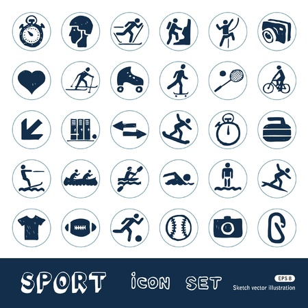 Sport web icons set  Hand drawn isolated on white Vector