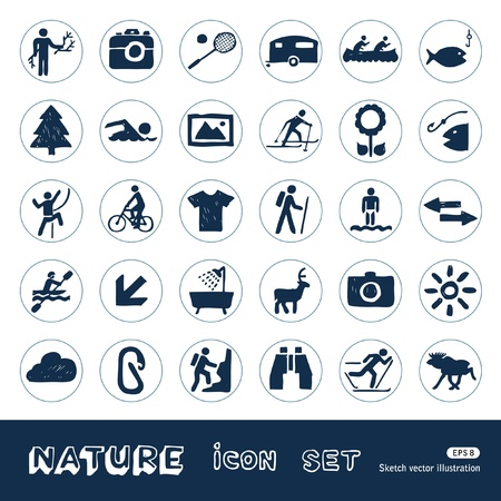 pastime: Sport, vacation and nature web icons set  Hand drawn isolated on white