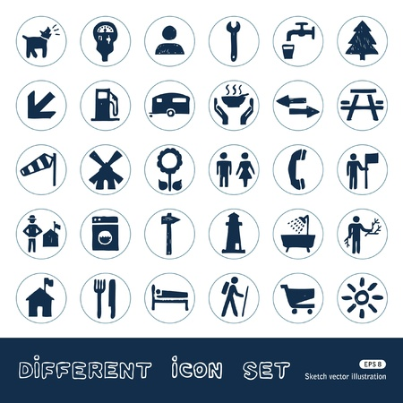 Vacation, camping and hotel web icons set  Hand drawn isolated on white Vector