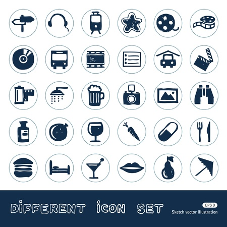 Vacation, media and food web icons set  Hand drawn isolated on white Vector