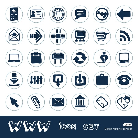 Web icons set  Hand drawn isolated on white Stock Vector - 15070873