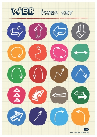 Arrows web icons set drawn by chalk  Hand drawn vector elements pack isolated on paper Stock Vector - 17064462