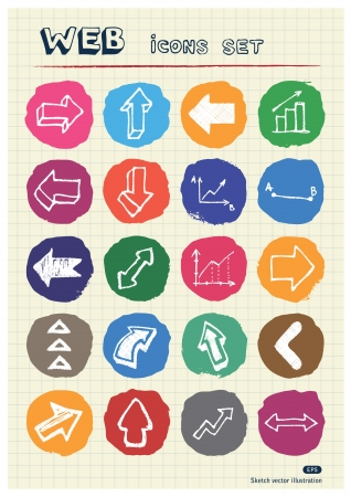 Arrows web icons set drawn by chalk  Hand drawn vector elements pack isolated on paper Vector