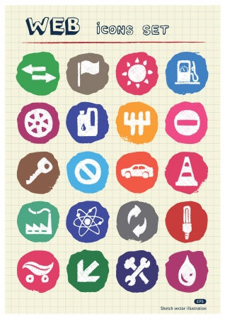 Auto and energy web icons set drawn by chalk  Hand drawn vector elements pack isolated on paper Vector