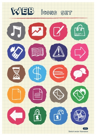 Business and media web icons set drawn by chalk  Hand drawn vector elements pack isolated on paper Stock Vector - 17064472