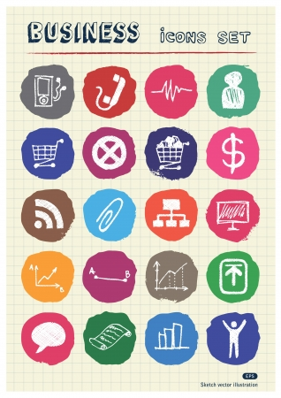 Business and media web icons set drawn by chalk  Hand drawn vector elements pack isolated on paper Vector